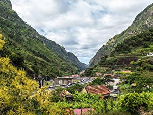 Фотография Португалия Здания Дороги Горы Madeira Serra De Agua Города