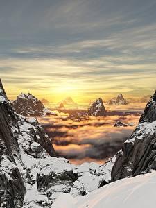 Фотографии Рассветы и закаты Горы Пейзаж Утес Снег 3D_Графика