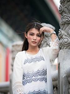 Обои Азиаты Поза Боке Смотрят Брюнетка Девушки
