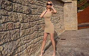 Обои Блондинок Платья Позирует Очков Рука Ноги Туфлях девушка