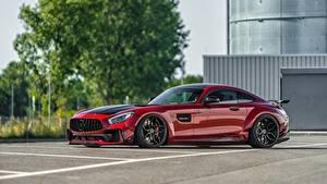 Фотографии Мерседес бенц Красных Сбоку Металлик AMG GT автомобиль
