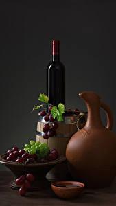 Фотографии Натюрморт Вино Виноград Бочка Кувшин Бутылка Пища