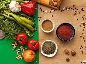 Обои Овощи Специи Томаты Лук репчатый Перец овощной Чеснок Укроп Перец чёрный