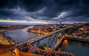 Фотография Мосты Вечер Портус Кале Португалия Реки Vila Nova de Gaia, Dom Luís I Bridge Города