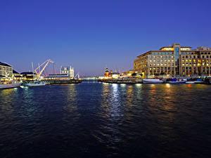 Фотографии Южно-Африканская Республика Дома Реки Причалы Вечер Cape Town город