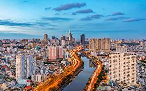 Картинки Вьетнам Здания Речка Дороги Saigon город