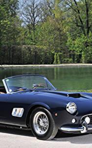 Фотографии Феррари Ретро Синий Кабриолет Металлик 1961-63 250 GT California Passo Corto (fari aperti) Scaglietti Авто