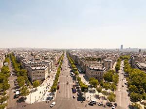 Обои Франция Дома Дороги Париже Мегаполис Улица город