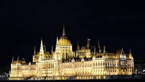 Обои Венгрия Будапешт Здания Дизайна Ночные Hungarian Parliament город