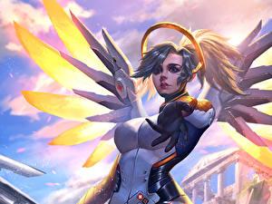 Фотография Overwatch Ангелы Mercy компьютерная игра Девушки Фэнтези