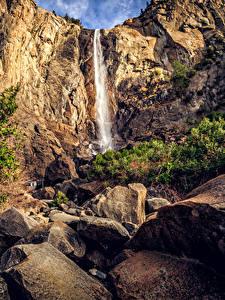 Фотография США Парки Водопады Камень Калифорния Йосемити Утес