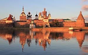 Картинка Россия Утро Озеро Монастырь Solovetsky island, Spaso-Preobrazhensky Solovetsky monastery Города