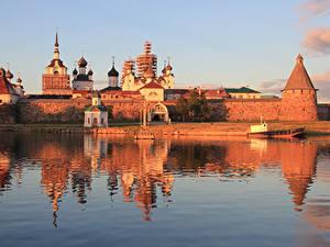 Картинка Россия Утро Озеро Монастырь Solovetsky island, Spaso-Preobrazhensky Solovetsky monastery