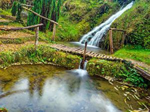Обои Хорватия Парк Пруд Водопады Мост Rastoke Slunj Природа