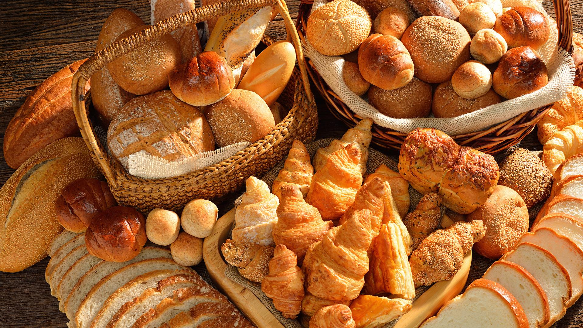Обои для рабочего стола Круассан Хлеб Булочки Еда Выпечка 1920x1080 Пища Продукты питания