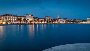 Картинки Хорватия Здания Пирсы Вечер Сплит (город) Залив город