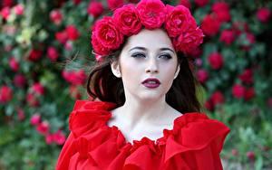 Фотография Розы Венок Красный Смотрит Девушки
