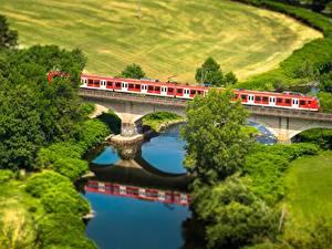 Картинка Поля Река Мосты Поезда Сверху Природа