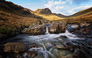 Фотографии Англия Водопады Камни Холмы Ручей Cumbria Природа