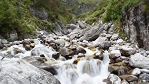 Фотографии Камни Горы Ручеек Скала Природа