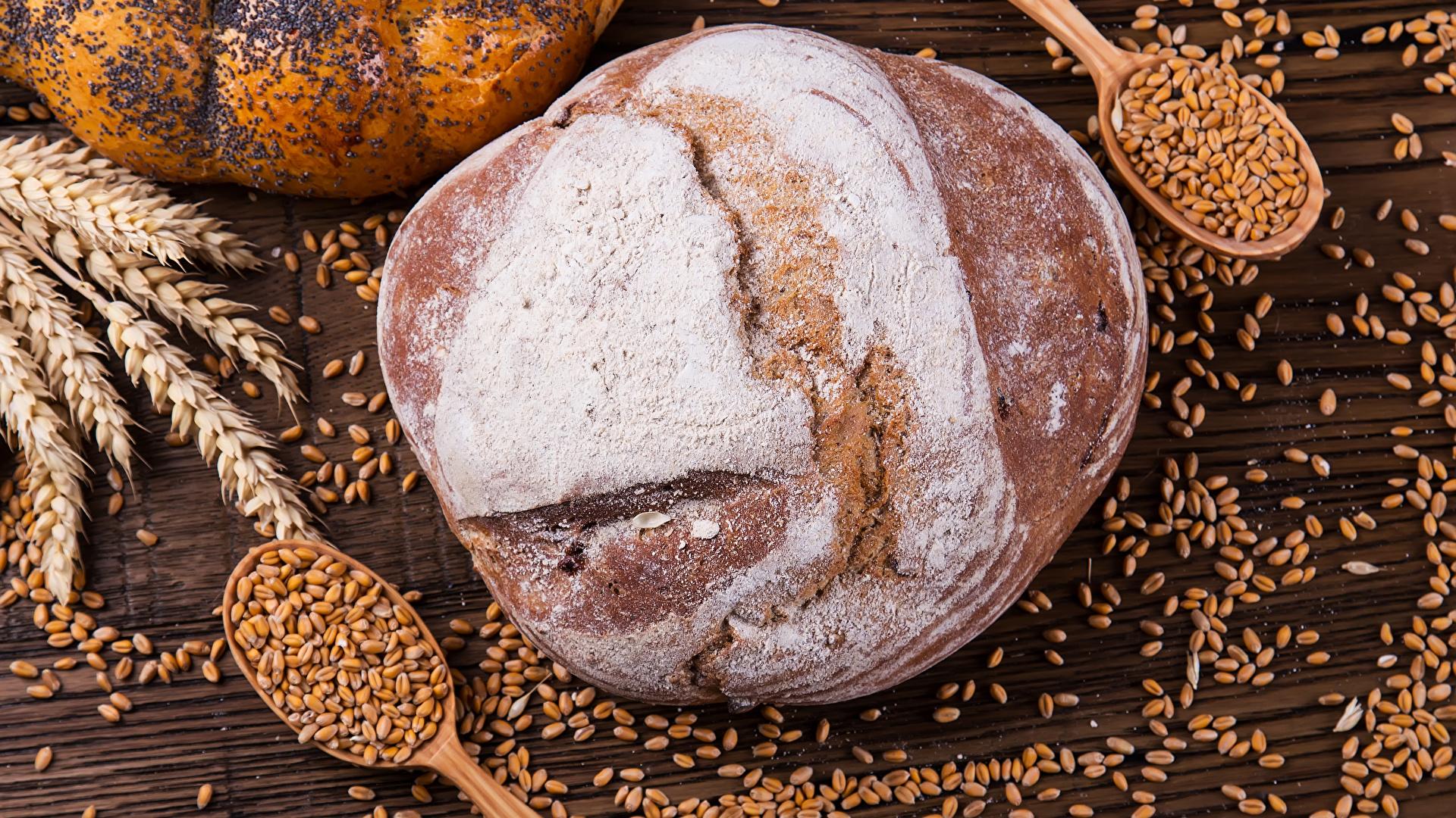 Фото Пшеница Хлеб Зерна Колос Еда ложки Выпечка 1920x1080 зерно Пища Ложка Продукты питания
