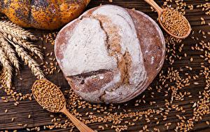 Фото Выпечка Хлеб Пшеница Колос Зерна Ложка