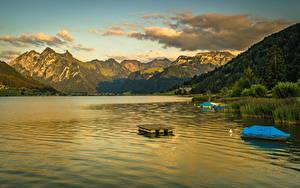Фото Швейцария Горы Озеро Катера Sihlsee Природа
