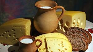 Обои Молоко Сыры Хлеб Кувшин Кружка Продукты питания