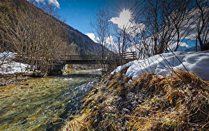 Обои Австрия Зима Реки Мосты Снег Kohlenbach Tyrol Природа