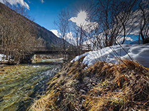 Обои Австрия Зима Реки Мосты Снег Kohlenbach Tyrol