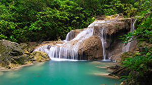 Картинка Таиланд Тропики Парки Водопады Деревья Утес