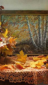 Фотография Осенние Картина Стола Вазе Листья Природа