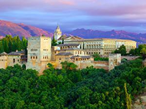 Картинки Испания Дома Деревья Alhambra Granada город