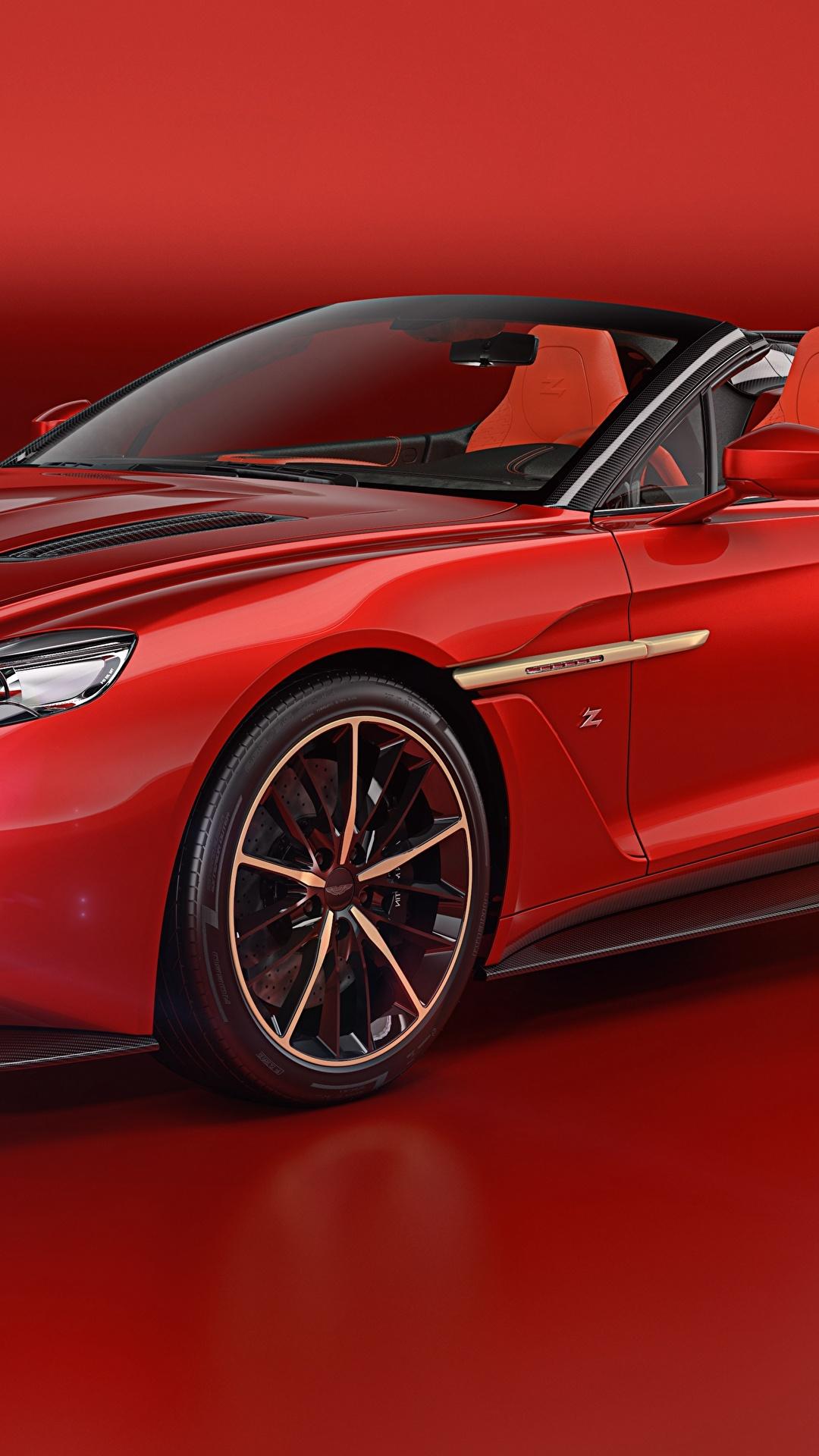 Картинки Астон мартин 2018 Vanquish Zagato Speedster Zagato Кабриолет красные Металлик Автомобили Красный фон 1080x1920 Aston Martin кабриолета красных Красный красная Авто Машины