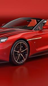 Картинки Астон мартин Красный Металлик Кабриолет Красный фон 2018 Vanquish Zagato Speedster Zagato Авто