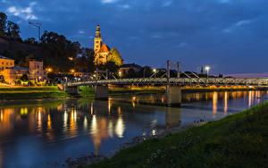 Фотографии Австрия Зальцбург Здания Реки Мост Вечер Города