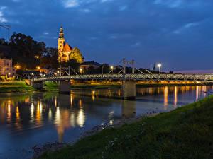 Фотографии Австрия Зальцбург Здания Реки Мост Вечер