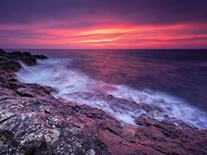 Фотография Болгария Побережье Рассвет и закат Волны Природа