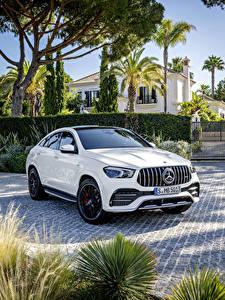 Картинка Mercedes-Benz Белая Металлик Купе Кроссовер 2019 AMG GLE 53 4MATIC Coupé Worldwide Автомобили