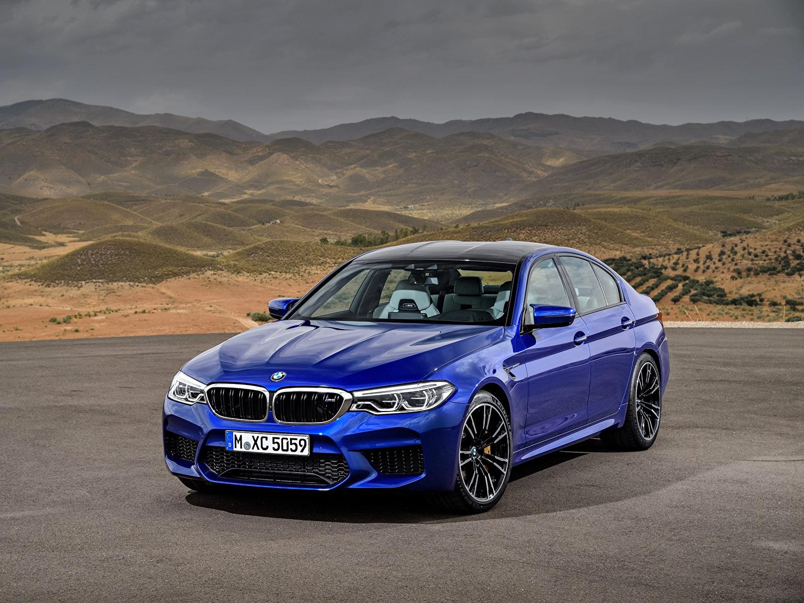 Фотография BMW M5 2017 M5 F90 синих Автомобили 1600x1200 БМВ синяя синие Синий авто машины машина автомобиль