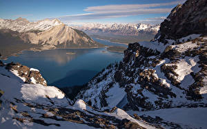 Картинка Канада Парки Гора Озеро Зимние Банф Снегу Природа