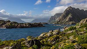 Фотографии Норвегия Лофотенские острова Горы Речка Камень Небо Мох Облака Природа