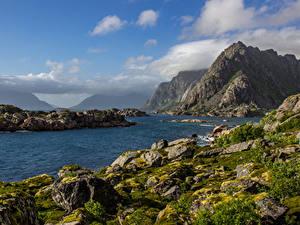 Фотографии Норвегия Лофотенские острова Горы Речка Камень Небо Мхом Облака Природа