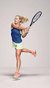 Обои Теннис Бежит Серый фон Ног German WTA Angelique Kerber спортивный Девушки