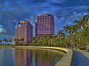 Обои Штаты Здания Небо Флорида Пальм Залив West Palm Beach Города