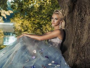 Картинка Блондинка Платье Сидит Взгляд Серег