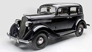 Обои Ретро Ниссан Серый фон Черный Металлик 1937-39 Nissan 70 Авто
