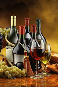 Обои Вино Виноград Бутылки Бокал