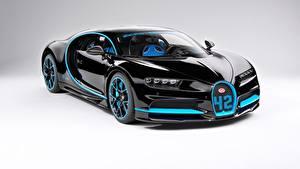 Картинка BUGATTI Черные Металлик Купе Bugatti Chiron, giperkar Автомобили