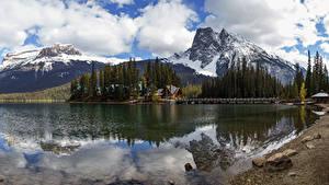 Фотографии Канада Парки Горы Озеро Леса Пирсы Пейзаж Yoho National Park Природа